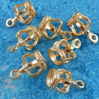5X Gold Tone Zinc Alloy Hollow 14*9*9mm Crown Charms Pendant Jewelry
