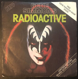 """GENE SIMMONS - RADIOACTIVE 7"""" Single Red Vinyl WITH MASK - CAN134 1978 VG/EX"""