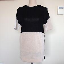 Marimekko Colour Block Black Beige Knit top short sleeve Great condition Size XS
