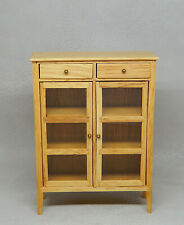 Vintage Glass Door Lawyers Bookcase With 2 Drawers Dollhouse Miniature 1:12