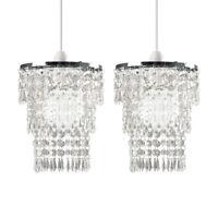 2x Chrome Clear Acrylic Droplet 3 Tier Chandelier Ceiling Light Pendant Shades