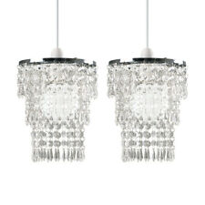 2x Chrome Clear Acrylic Droplet 3 Tier Chandelier Ceiling Light Pendant Shades