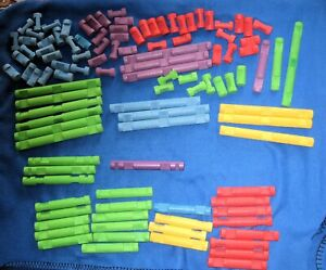 Lincoln Logs Lot - 100+ Pieces - Mixed Colored lot Logs ~ Blue Green Red Yellow+