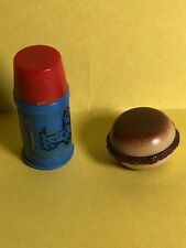 Vintage Barbie Skipper Skooter #1933 COUNTRY PICNIC Blue Thermos W/lid~Hamburger