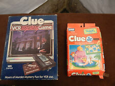 2 Clue Games:1985 Parker Bros. Clue VCR Mystery Game & Clue Jr. Travel Game