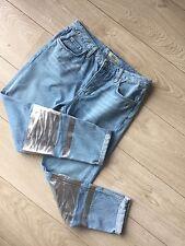 Topshop MOTO Women's Jeans Boyfriend Hayden Metallic Silver Foil W28 L32 Uk 10