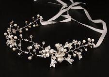 Silver Wedding Bridal Crystal Diamante Headband Ribbon Flower Tiara Hair Comb