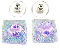 """DICHROIC Post EARRINGS 1/2"""" 12mm Clear Opal Green Teal Pink Ripple Fused GLASS"""