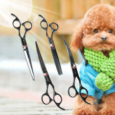 """4PCS 7"""" Pro Curved PET DOG Grooming Scissors Cutting Thinning Shear Clippers Set"""
