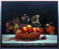 Henri Gautier * 1955: Obstkorb Weintrauben, Äpfel Pfirsich Öl-Malerei 50 x 60 cm
