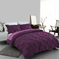 Plum Pintuck Duvet Cover Set 100% Egyptian Cotton Bedding Sets Double King Size