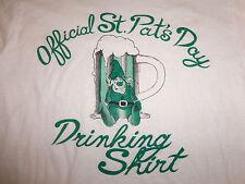 Official St. Pat's Day Drinking Shirt Leprechaun Beer White Long Sleeve Shirt L