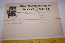 1923 ALLEN MANUFACTURING CO Invoice NASHVILLE TENNESSEE Copper Iron Range Stove