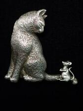 """JJ"" Jonette Jewelry Silver Pewter 'CAT Curling Its Tail @ Mouse' Pin"