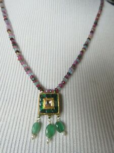 20K Gold Polki Rose Cut Diamonds Emeralds Pendant Precious Gems Beaded Necklace