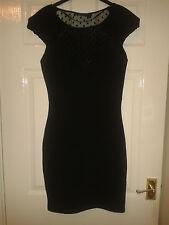 Vestido para mujer-Kim Kardashian Kollection-Negro + ver a través de panel-tamaño 10