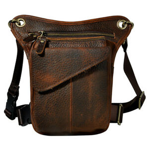 Motorcycle Outdoor Vintage Leather Drop Leg Bag Tactical Thigh Waist Fanny Pack
