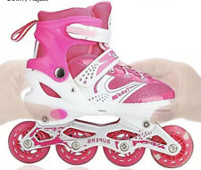 New Ajustable Girls Inline Skates Rollerblades Pink & White Size 2 - 4