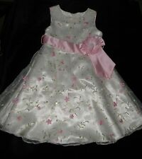GORGEOUS BONNIE JEAN FORMAL SPECIAL OCCASION PARTY DRESS EMBROIDERED OVERLAY 3T