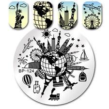 Born Pretty  Nail Art Stamp Template Globe Scenic Spot Travel Design Image Plate