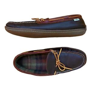 LL Bean Leather Mocassin Slippers Plaid Cushioned Lining Mens Brown Sz 12