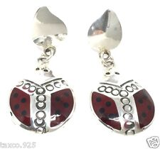 Red Ladybug Dangle Earrings Mexico Taxco Mexican 925 Sterling Silver