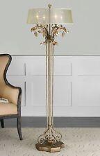 """NEW 65"""" BURNISHED GOLD METAL FLOOR LAMP GOLDEN TEAK CRYSTAL LEAF SILK SHADE"""