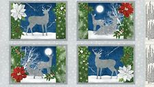Under The Pines Placemats Panel-Wilmington Prints-Deer-Winter-4 Placemats