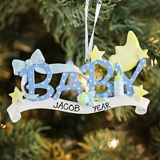 TWINKLE TWINKLE LITTLE STAR BABY BOY FIRST CHRISTMAS PERSONALIZED ORNAMENT