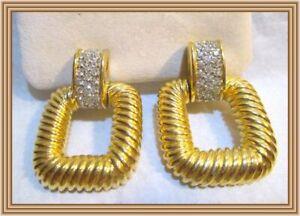 CINER 1960s - CRYSTAL TOPPED FIGURAL GOLD DOOR KNOCKER MOTIF EARRINGS NR