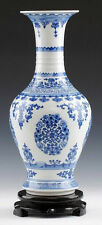 Fine Blue and white Porcelain vase painted beautiful flowers pictures no reserve