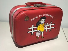 """VINTAGE RED CHILD'S SUITCASE - """"I'M GOING TO GRANDMA'S"""" BY TROJAN LUGGAGE CO."""