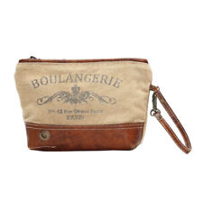 Boulangerie Khaki Canvas + Leather Wristlet Bag Recycled Purse with Wrist Strap
