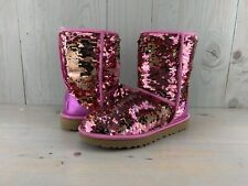 UGG CLASSIC SHORT   SEQUIN SPARKLE SILVER PINK BOOTS WOMENS  US 8 ib
