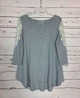 Umgee USA Boutique Women's M Medium Gray Lace Cute Waffle Spring Top Tunic Shirt