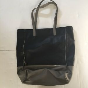 """""""Plum"""" brand Bag shop or diaper  Black & Grey Faux Leather ~Double Handle Lined"""