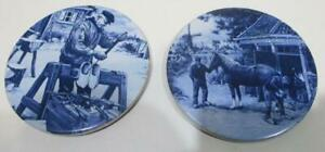 2 Vintage Ceramic Coasters Delft Blue Holland Hand Decorated by Ter Steege 92mm