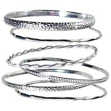 65MM_SET OF 6_ASSORTED SILVER BANGLE BRACELETS_#BP6-ML _925 STERLING SILVER