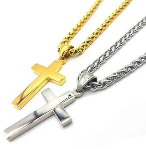 Edelstahl Kreuz Anhänger mit Kette Zopfkette Damen Herren Halskette