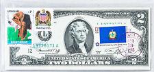 US Currency Paper Money 2 Dollar Bicentennial 1976 Gem Uncirculated Stamp Basset
