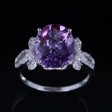 Sterling Silver 925 Amethyst Real Diamonds Engagement Women Ring 10x12mm Oval