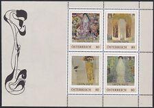 Postfr. Briefmarkenblock mit 4 Pers. Marken von Gustav Klimt, Nennwert je 0,80 €