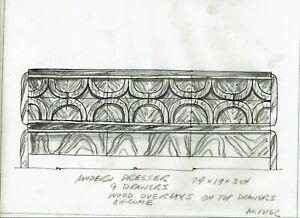Orig. Mid Century Furniture Dresser Design Sketch Pulaski 1970's Leonard Eisen
