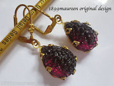 Tudor style Art Nouveau Art Deco earrings amethyst sugar glass vintage drop