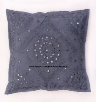 "16"" Grey Mirror Embroidered Decorative Throw Pillow Cushion Cover Bohemian India"