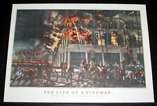 "OLD 1950'S CURRIER & IVES LITHO PRINT, ""LIFE OF A FIREMAN, THE FIRE"" FOLK ART!"