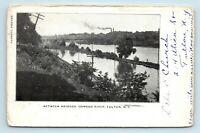 Fulton, NY - PRE 1908 VIEW OF TOWN & FACTORIES BETWEEN BRIDGES - POSTCARD