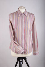 L157/08 Jaeger Women's Cotton Pastel Striped Fitted Office Shirt, size UK 8