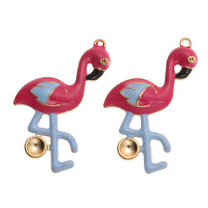 10PCS/Lot Alloy Enamel Flamingo Charms Pedant Crafts DIY Jewelry Findings Making