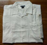 NWD CELLANGINO LINEN BLEND Button Up Shirt Mens CREAM Short Sleeve Sz 4X